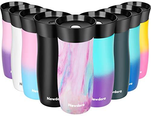 Newdora Thermobecher Reisebecher Travel Mug Edelstahl Isolierbecher, Kaffeebecher to go, Doppelwandiger 360°-Trinköffnung hält bis zu 5h heiß/ 9h kalt, 380 ml, BPA Frei (Irisierend)