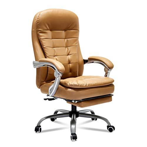 Zhyaj PU Leder Chefsessel Schreibtischstuhl Mit Fußstütze Pc Gasdruckfeder Bürostuhl Höhenverstellbar - 160° Verstellbar,Braun,Load:150kg