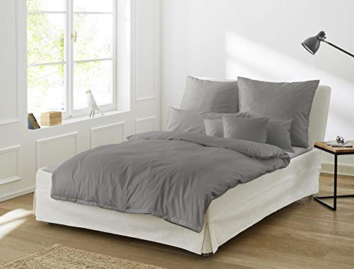 Irisette Mako Satin Bettwäsche 2 teilig Bettbezug 135 x 200 cm Kopfkissenbezug 80 x 80 cm Paris 8000-12 Grafit