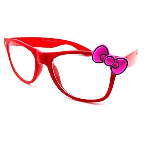 KISS Gafas neutrales estilo HELLO KITTY - montura óptica MUJER moda vintage EXTRAVAGANT - ROJO/Rosa