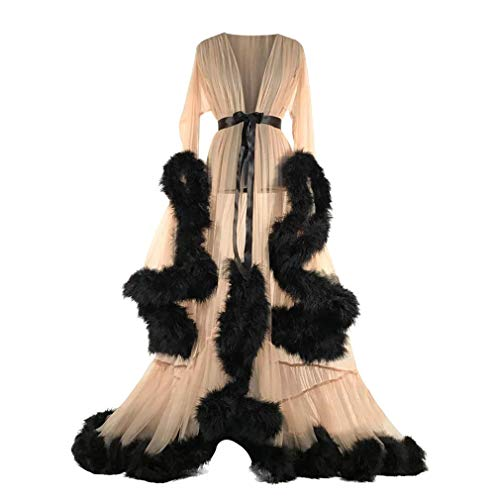 Mxssi Sexy Dessous Kleid für Damen Frauen Mode Feder Negligee Lingerie Transparente Morgenmantel Bademantel Bodys Nachtwäsche Unterwäsche mit Gürtel
