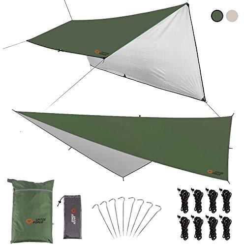 防水タープ 天幕 シェード テント タープ 大型 軽量 紫外線 UV カット 日よけ 遮熱 撥水加工 耐久 サンシェルター キャンプ アウトドア ポータブル 収納ケース付 2-6人用 3m×3m / 3m×4m / 3m×5m 2色(グリーンM)