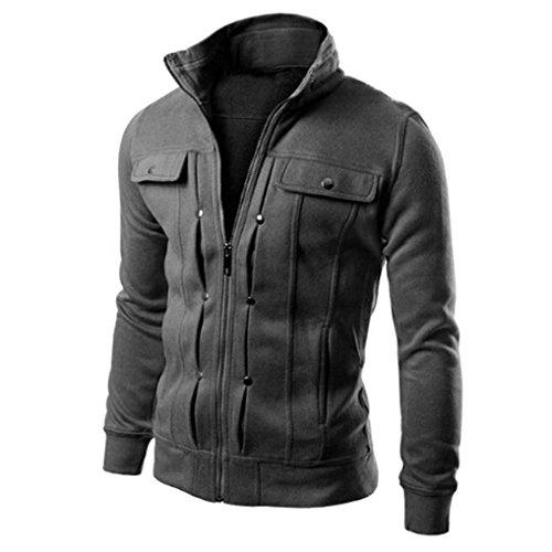 VEMOW Mode Herren Mantel, Männer Casual Daily Party Sport Schlank Entworfene Revers Cardigan Jacke(Dunkelgrau, 48 DE/M CN)