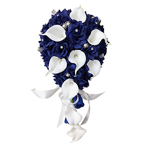 Angel Isabella Cascade Wedding Bouquet -Cobalt Blue White Keepsake Artificial Roses Calla Lily with Rhinestone and Bling Accents