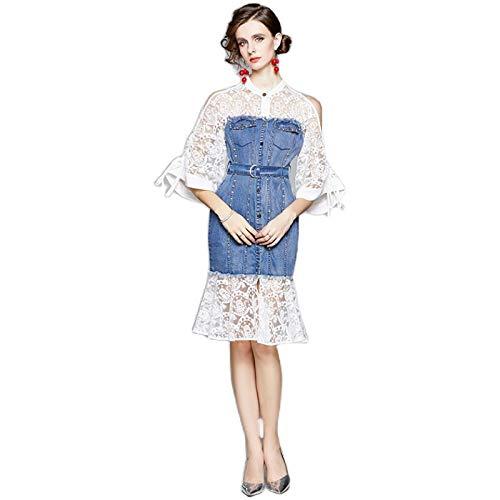 QUNLIANYI Vestido de Mezclilla Vintage de Primavera Verano para Mujer, Elegante Bata de Cóctel, Vestido Informal de Diseñador de Encaje, L Blanco