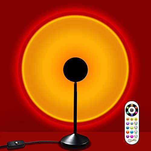 Projecteur de lampe coucher de soleil,16 lumières de couleur RVB avec télécommande,rotation de 180lumière de projection USB arc-en-ciel,pour la maison,la chambre à coucher la décoration d'arrière-plan