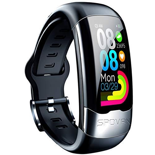ZYY H02 Smart Watch, H02 Watch ECG Pegatina de Prueba Etiqueta cardíaca Inteligente, Pulsera de Pulsera Deportiva de presión Arterial aplicable a ANN aplicable a Android iOS,A
