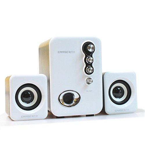 EARISE Q8 USB Powered 2.1 Stereo Computer Speakers with Subwoofer White
