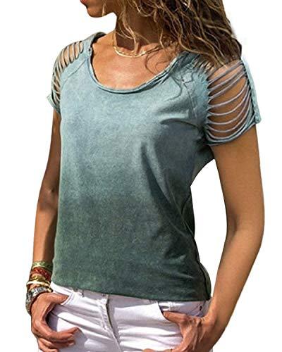 YOINS Sexy Oberteil Damen Sommer T Shirt Damen Farbblock Blusen Oberteile Farbverlauf Colorblock Bluse Cross Front Grün M