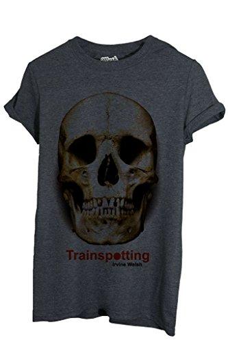 MUSH T-Shirt Trainspotting Teschio Irvine - Film by Dress Your Style - Uomo-L-Grigio Scuro