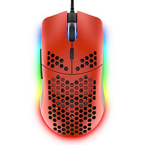 ZIYOULANG Ratón para juegos con cable, 69G Honeycomb Shell ligero con 6400 DPI, ratones USB programables de 6 botones, para PC Gamers y usuarios de Xbox y PS4, color rojo