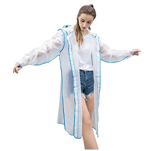 Transparenter wiederverwendbarer Regenmantel Plus Size Multicolor Stylish Durable Hooded (M,Blau)