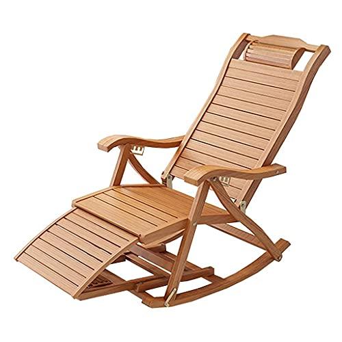 AMAFS Sillón portátil para Tomar el Sol Mecedora Plegable Sillón reclinable Ligero Portabilidad Duradero Playa Jardín Dormitorio Balcón Sala de Estar Cojinete Peso 200 kg Happy House