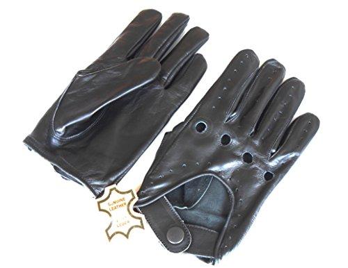 Para hombre Classic piel auténtica sin forro negro suave piel verano guantes...