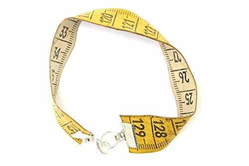 Miniblings Cinta metrica la Regla de medicion Cinta metrica Pulsera Upcycling Reciclaje Amarillo - Joyas Hechas a Mano de la Moda - Damas Pulsera de Nina