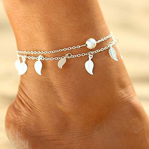 Handcess - Cavigliere a doppia foglia nappa, a strati, per donne e ragazze, colore: argento