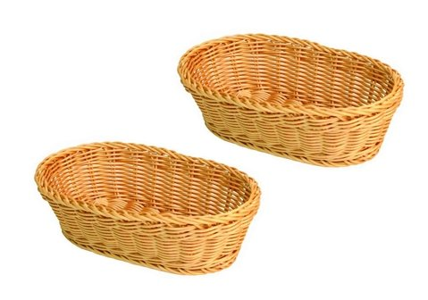 Set of 2 | 11' Large Oval Tabletop Serving Baskets, Bread Roll Basket Baskets, Restaurant Serving/Diplay Baskets