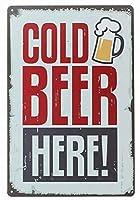 ピンアップ冷たいビールここでレトロヴィンテージ装飾金属錫記号