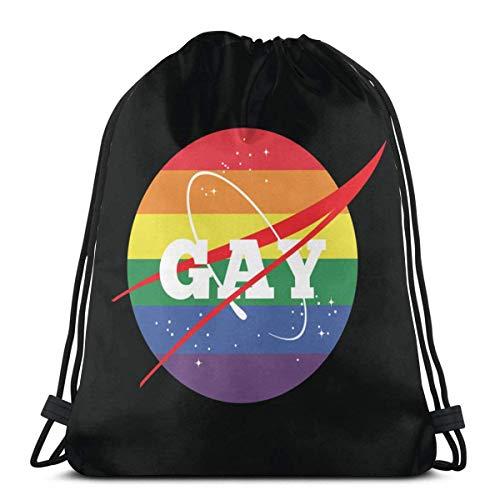 NASA Gay Pride Logo Cool Drawstring Backpack String Bag 14.2 x 16.9 Inch/36 x 43cm