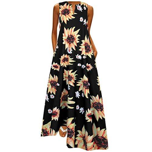 Women Dresses Summer Plus Size Ladies Plus Size Print Daily Casual Sleeveless Vintage Bohemian V Neck Maxi Dress,Women Clothing Promotion Sale