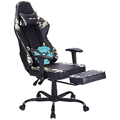 Storm Racer Gaming Chairs High Back Computer Chair of Professional Racing Style Comfortable Gamer Chair with Footrest and Massage Backrest and Lumbar Pillows (Camouflage)