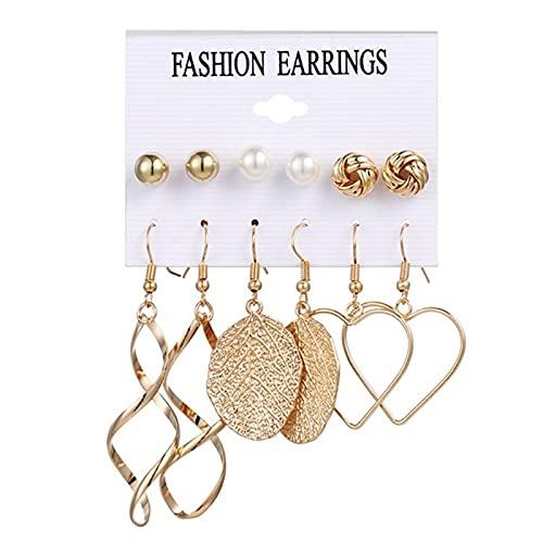 FEARRIN Pendientes Vintage para Mujer, Conjunto de Pendientes para Mujer, Pendientes de Perlas con borlas para Mujer, joyería Bohemia, Pendientes geométricos H32-ZL426