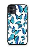XUNQIARS - Carcasa para iPhone 11 de 6 pulgadas (poliuretano termoplástico), diseño de mariposas, color negro