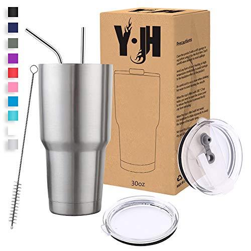 Y·J&H 30oz (850ml) Doppelwandig Vakuum Isolierter Autobecher, Edelstahl Reiseflasche, Thermobecher Kaffee to Go mit 2 Spritzfestem Deckel 2 Strohhalm, Rohrbürste,BPA Free - Silber