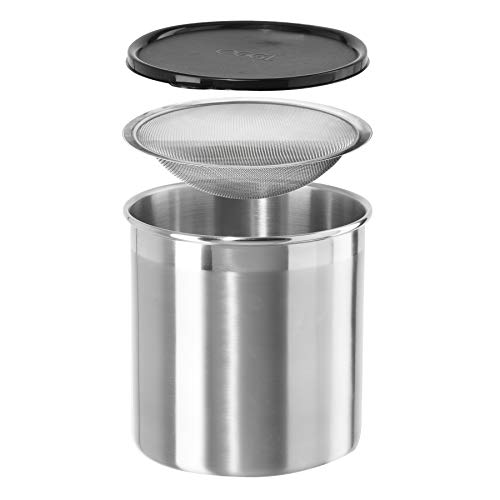 Oggi Cooking Grease Container, 4 Quart, Stainless Steel