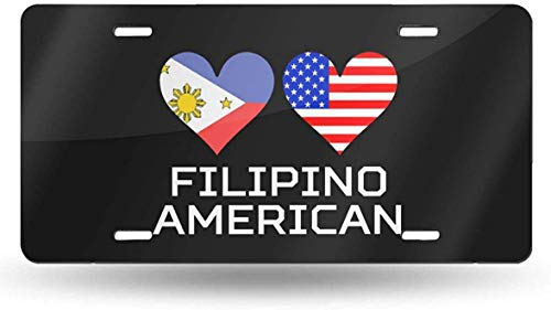 WSEDRF Filipino American Hearts License Plate Cover Aluminum Metal Novelty Car Tag Decorative Front Car Tag 6'x12'