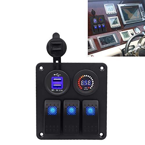 Interruptores de botón eléctrico de coche Multifunción Llave de luces de colores del panel del voltímetro + luz individual de 3 vías Cambia + Dual USB cargador, for el coche marina Barco y RV