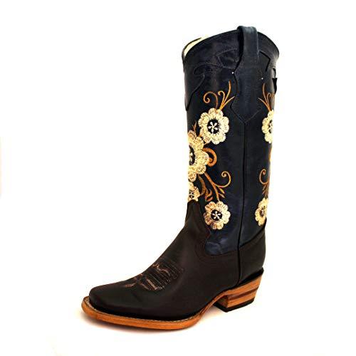 Micuari Cowboystiefel für Damen mit Reißverschluss, 100% Leder