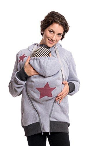 Viva la Mama Umstandsjacke mit Baby Trageeinsatz Jacke schwanger Baby tragen Sweatjacke Umstandsmode Tragepullover - CASSIO hellgrau - L