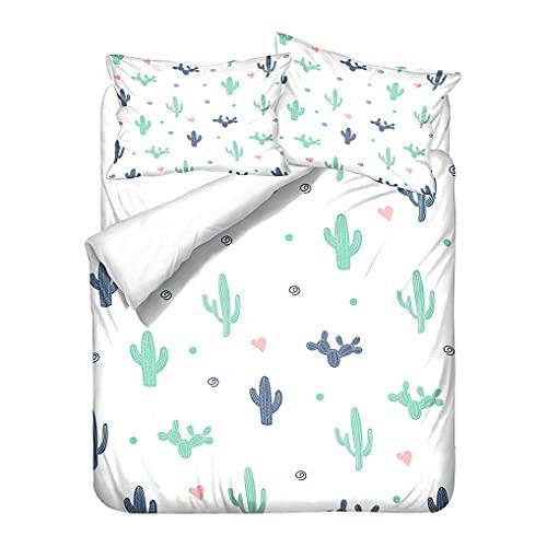 HNHDDZ Ropa de Cama Tropical Plantas Cactus Impreso Funda nórdica y Funda de Almohada Microfibra Blanco Amarillo Naranja Funda nórdica con Cremallera Niña (Estilo 4, 150x200 cm - Cama 90 cm)