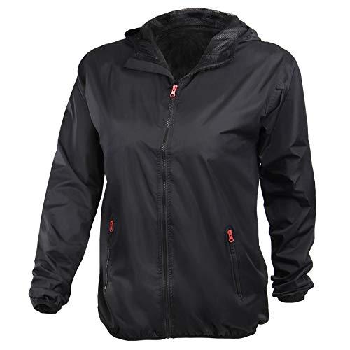 ALPIDEX Damen Regenjacke, atmungsaktiv, leicht, wasserdicht, Winddichte Übergangsjacke mit Kapuze - Größe S M L - Schwarz, Größe L