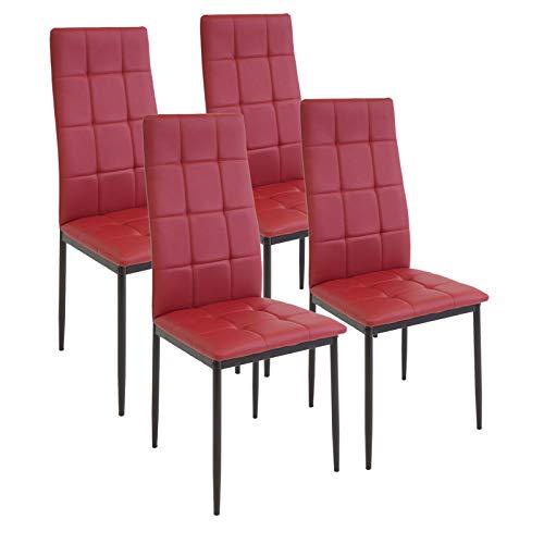 Albatros International GmbH Esszimmerstühle Rimini, 4-er Set Rot, SGS gestestet