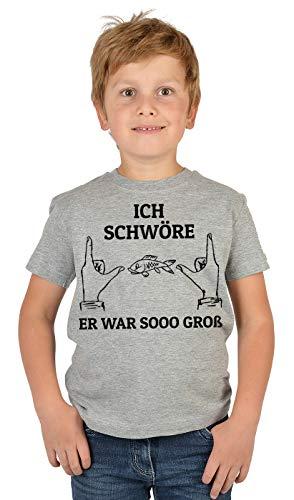 Kinder Angler Angeber T-Shirt, Kinder-Shirt Motiv Angel-Sport : Ich schwöre er war sooo groß,- Bekleidung Kinder Angeln, Coole Sprüche Gr: M = 134-140