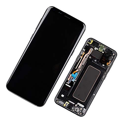 Duotipa Super AMOLED Display Kompatibel mit Samsung Galaxy S8+ S8 Plus SM-G955F SM-G955FD 6.2 inch LCD Display Bildschirm Digitizer Ersatzdisplay Assembly mit Rahmen + Werkzeugen(Schwarz)