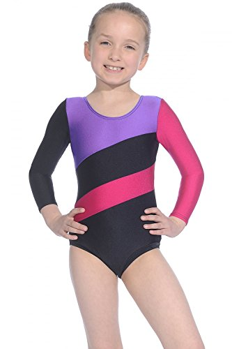 Roch Valley - Maillot de Gimnasia para niña, Color Black/Purple/Raspberry, tamaño 10 UK(36-38 EU)