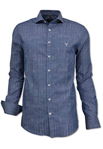 Carlo Colucci Herren Hemd mit modernem Kent-Kragen, Blau Blau 3XL