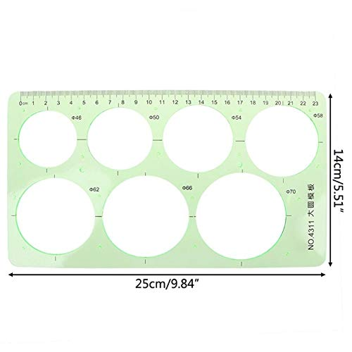 18 stijlen groen cirkels kunststof geometrisch model liniaal sjabloon meetgereedschap schrijfwaren leerlingen tekening curve liniaal 4311