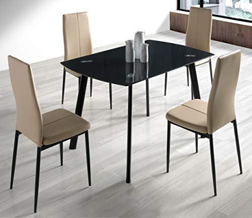 Miroytengo Conjunto Mesa Algar + 4 sillas Brea Moderno Color Negro y Capuchino Comedor Salon Cocina