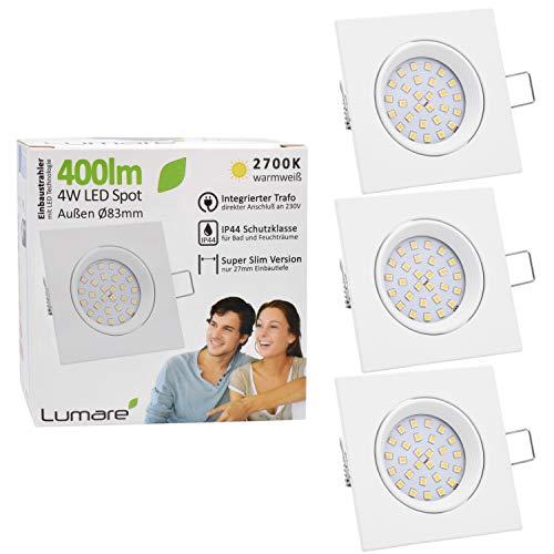 3x Lumare LED Einbaustrahler 4W 400 Lumen IP44 nur 27mm extra flach Einbautiefe LED Leuchtmodul austauschbar Deckenspot AC 230V 120° Deckenlampe Einbauspot warmweiß weiß eckig Badezimmer