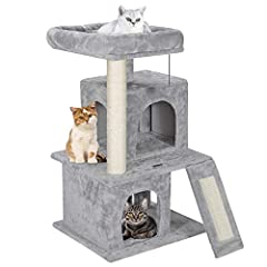 """🐱Sturdy and Stable - This ZENY 33.5"""" cat tree is made from highly durable particleboard wood, wrapped with soft flannelette finish to keep your cats warmed and cozy. Stability is always priority. The bottom base is reinforced that ensure its stabilit..."""