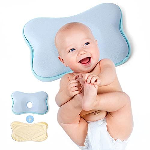 Cojín para bebé Plagiocefalia antiasfixia 100% látex natural (celeste)