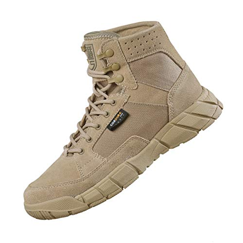 FREE SOLDIER Men's Tactical Boots 6 Inches Summer Lightweight Breathable Desert Boots with Thin Durable Fabric (Tan, 12)