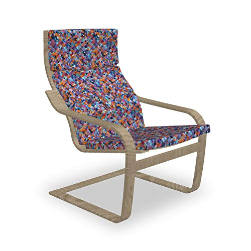 Ambesonne 1970s Armchair Pad and Slipcover, Polygonal Composition with Angular Triangle Motifs Colorful Geometric Elements, 1 Piece Soft Cushion Replacement with Removable Cover, Multicolor