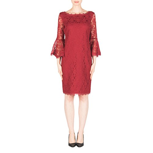 Joseph Ribkoff Bell Sleeve Floral Lace Trim Dress Style 183500 Size 16