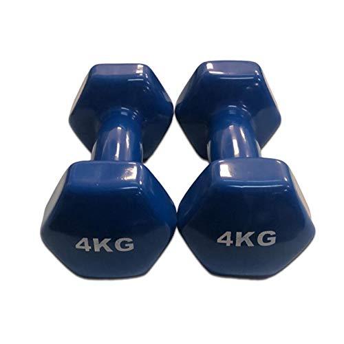 Natural Logistics Mancuernas de Vinilo (Vendido en Pares de 4 kg, Azul) | Mancuernas hexagonales de Goma para Pilates | Pesas Antideslizantes para Gimnasio en casa | Deporte en casa con Pesas. KOTTAO