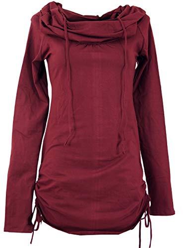 GURU SHOP Longshirt, Minikleid mit Weiter Schalkapuze, Damen, Bordeaux, Baumwolle, Size:S/M (36), Pullover, Longsleeves & Sweatshirts Alternative Bekleidung